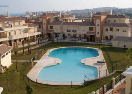 View from terrace to pool and Torre del Mar